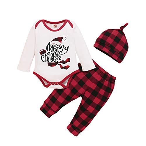 Lecduo - Conjunto de traje de Navidad para recién nacidos, diseño de letra navideña, para bebés y niñas, 3 meses a 18 meses