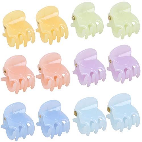 TRIXES Jeu de 12 pinces à cheveux - Pinces à broches de style miniatures - 6 couleurs pastel assorties