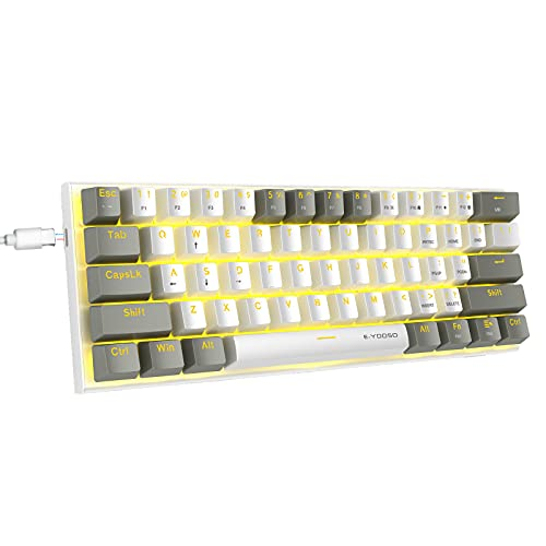 60% Mechanical Keyboard, E-YOOSO Gaming Keyboard with Blue Switches and Solid Color Backlit Small Compact Keyboard 60 Percent Keyboard Mechanical, Portable 60 Percent Gaming Keyboard Gamer(White Grey)