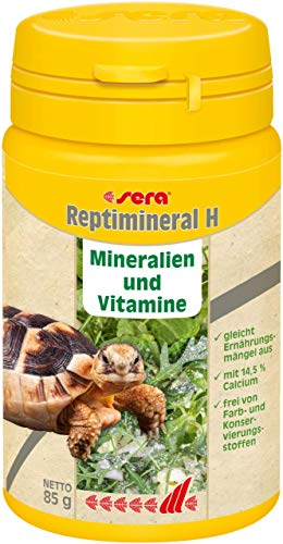 sera reptimineral H 100ml Ergänzungsfutter aus einem konzentrierten Mineralien-Vitamin-Mix für alle Pflanzen fressenden Reptilien & Landschildkröten - das Feinpulver haftet gut an Frisch Futter, Salat