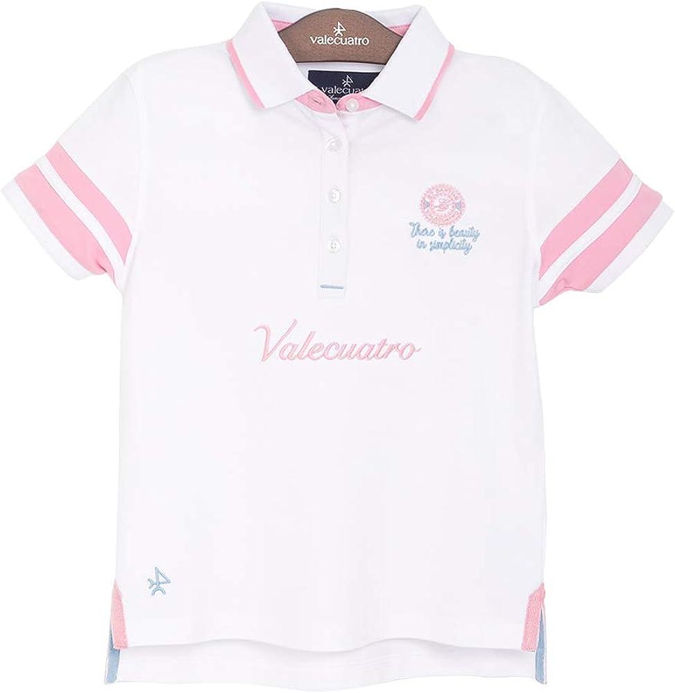 White Polo Shirt for Girls, 95% Cotton - Valecuatro