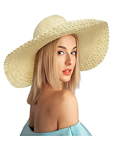 DANAN Sombreros de paja para mujer, sombreros de sol de verano, sombreros de sol plegables, sombreros de playa de disquete, ala ancha grande con lazos, vacaciones de verano en la playa, amarillo claro