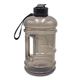 Garneck 2.2L Water Bottle Jug Leakproof Sports Water Drinking Bottle Gym Water Bottle for Gym Hiking Bodybuilding Camping Travel (Black)
