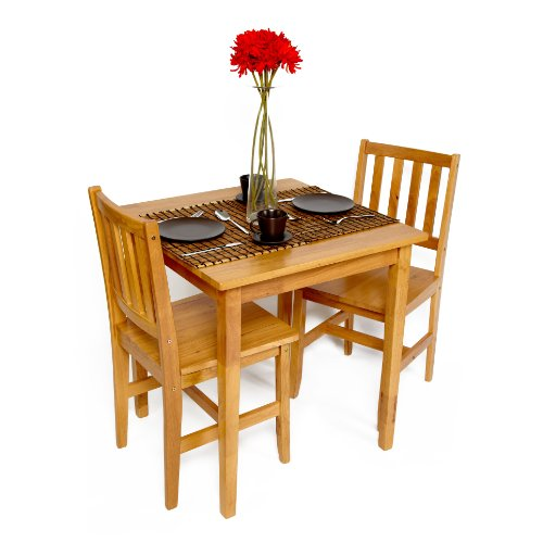 Lancaster solid rubberwood small table and chairs bistro set