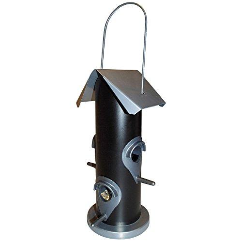 DILUMA Vogelfutter-Station 25 cm Futterspender mit 4 Futteröffnungen Vogelhaus zum Aufhängen mit Metalldach - Vogelfutter-Spender perfekt für Wildvogelmischungen