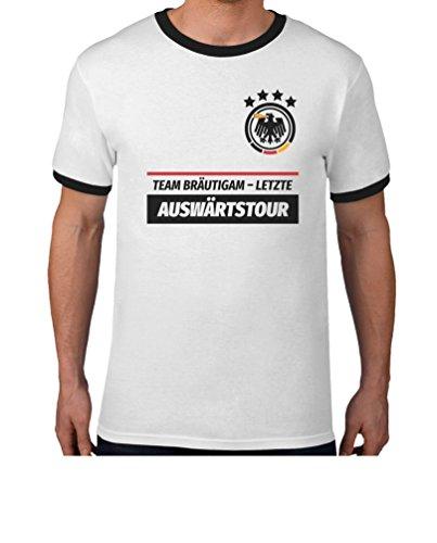 JGA Team Bräutigam Letzte Auswärtstour WUNSCHDATUM auf Rückseite Kombi T-Shirt Medium Weiß/Schwarz