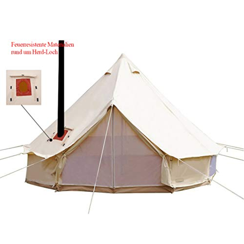 Sport Tent-Wasserdicht Schimmelresistent Zelt Baumwoll Tipi Teepee Indianerzelt 4-6M groß Familie Jagd Camp Zelt mit Kamin Mund Rundzelt für Urlaube Feste Feiern Hochzeit (Durchmesser 5M)