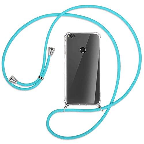 mtb more energy® Collar Smartphone para Huawei P8 Lite 2017, Honor 8 Lite (5.2'') - Turquesa - Funda Protectora ponible - Carcasa Anti Shock con Cuerda Correa