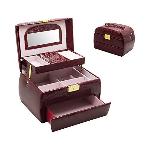 Prachtige draagbare opbergdoos, eenvoudige lederen sieradenvitrine, multifunctionele sieradendoos, geschikt voor sieraden, cosmetica, opslag van kleine voorwerpen Rood