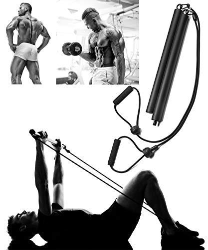 ROCHAN Portable Pilates Bar Kit with Resistance Band, Yoga Pilates Exercise Stick for Home Gym Workout (Black)