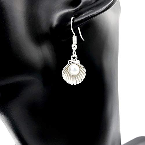 Ohrringe SILVER MERMAID versilbert Muschel Perle Kunstperle weiß antik hängend handmade einzigartig Damen Mädchen Schmuck Design modern filigran Muster Jugendstil