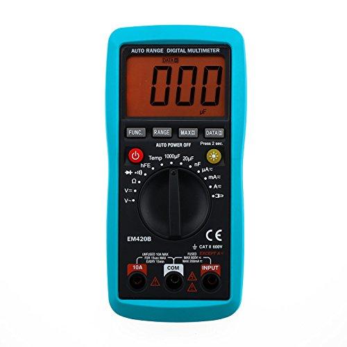 ALLOSUN Digital Multimeter Continuity Diode Transistor AC DC Volt Battery Tester DMM (EM420B)