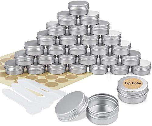 Tgbyhnujm 30 tarros de aluminio de 15 ml, recipientes vacíos para cosméticos con espátula y etiquetas adhesivas para muestra.