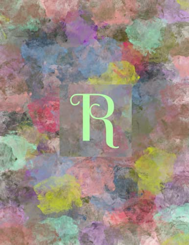 """R: Monogram Initial R Notebook for Journaling or Writing, 120 Lined Pages, 8.5 x 11"""": (Multicolor Abstract Design)"""