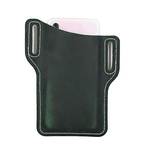 SCYDAO Leder Handy Holster Universal Case Taille Tasche Mantel Mit Gürtelschlaufe Für Turnhalle Workouts, Reisen, Outdoor-Aktivitäten,Grün