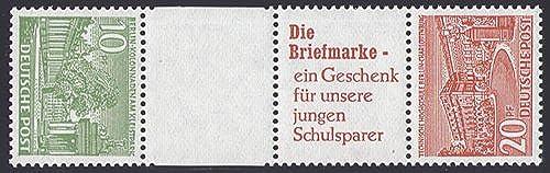 Goldhahn Berlin Zusammendruck SKZ4 postfrisch  Bauten 1952 (10+Z+R2+20) Briefmarken für Sammler