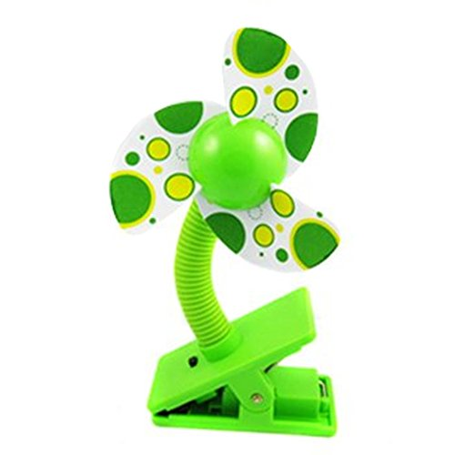 Mini Safety Baby Clip-On Stroller Dual-Use Usb/Battery Cooling Fan (Green)