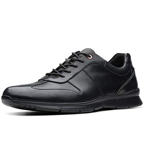 Clarks Un Tynamo Tie, Scarpe Stringate Brouge Uomo, Nero (Black Leather Black Leather), 43 EU