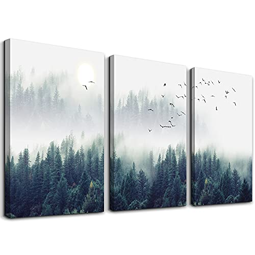 3 Piece Canvas Wall Art for Living Room- wall Decorations for Bedroom Foggy forest Trees Landscape...