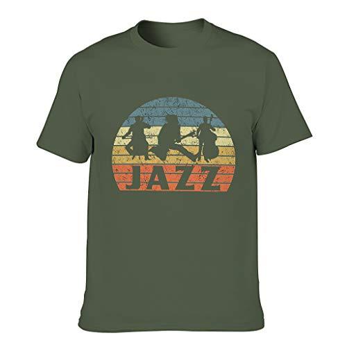 Camiseta de algodón para hombre verde militar M