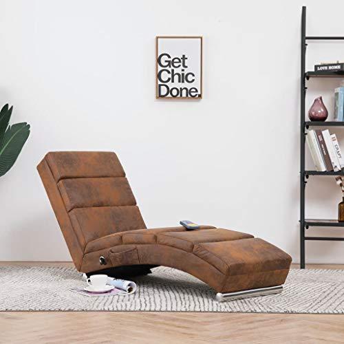 UnfadeMemory Massage Chaiselongue Massagesessel Holzrahmen Edelstahlbeine Relaxliege Fernsehsessel mit 5 Massagemodi und Wärmefunktion Bezug in Wildleder-Optik 155 x 51 x 71 cm (Braun)