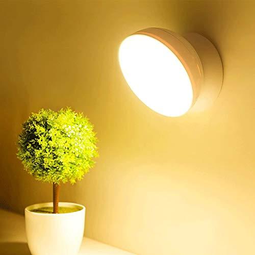 QEGY Luz Nocturna Infantil Pilas, Luces de Lectura Para Cama con USB Recargable, Lámpara de Pared Cuidado de Ojos, 360° Rotación Bebes Luces, Lámpara Pared con Sensor Automático Cocinas Dormitorios