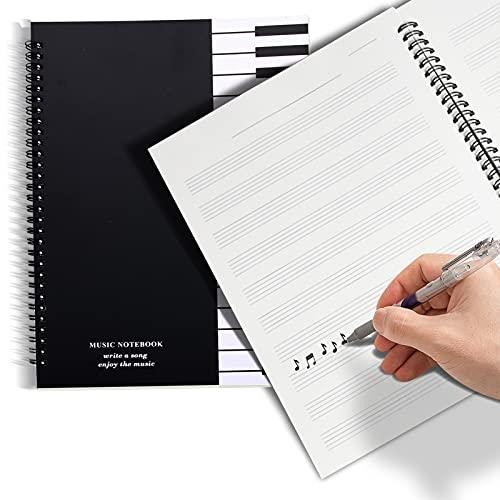 HONGECB Cuaderno De Partituras En Blanco, Cuaderno De Papel Manuscrito, Cuaderno De Música, 50 Hojas / 100 Páginas, 10 Pentagramas Por Página, Para Copiar y Escribir Partituras, Negro