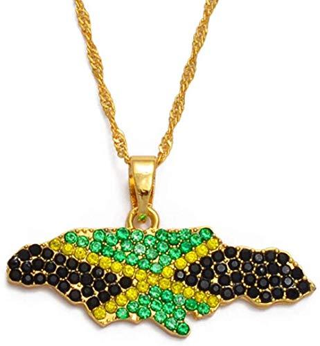 Aluyouqi Co.,ltd Collar Bandera Nigeria Jamaica con Diamantes De Imitación Mapas De África Collares Pendientes Joyería Étnica 60Cm