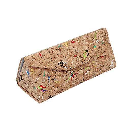Boshiho Estuche para gafas, respetuoso con el medio ambiente, caja de corcho natural, plegable, triángulo para gafas de sol, estuche para gafas de sol, estuche para joyería