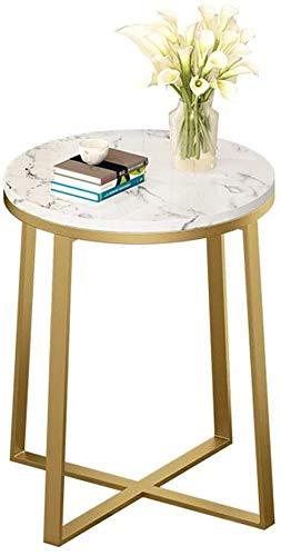 Bijzettafel Modern Wit Marmer Ronde Eettafel, Gouden Smeedijzer Kleine Hoektafel, Geschikt voor Woonkamer Slaapkamer