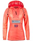 Geographical Norway Chaqueta impermeable cortavientos para mujer. coral XL