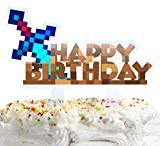 Sword Happy Birthday Cake Topper Pixel Video Game Theme Party Cake Decor for Baby Shower Child Birthday Party Supplies Adorable Mirrored Acrylic Decorations