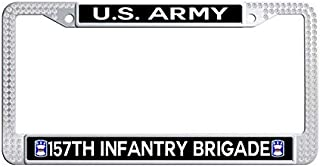 Nuoyizo US Army 157th Infantry Brigade Bling Crystal Car License Plate Holder Shining Rhinestones Funny Stainless Steel Metal Waterproof Car tag Frame (White)