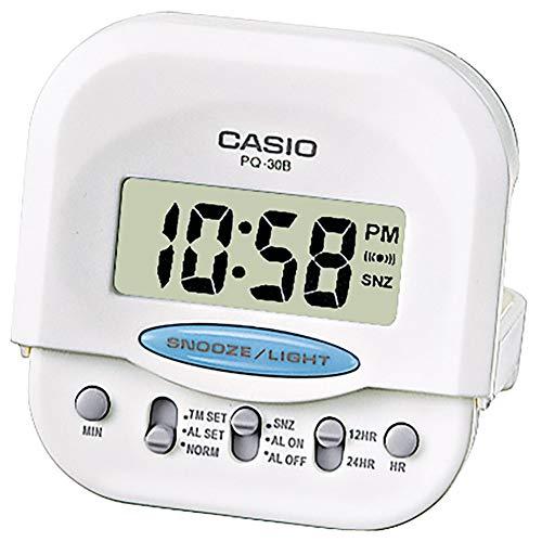 Casio Collection PQ-30B-7EF, Reloj con Alarma Diaria y Pantalla de Neón, Blanco