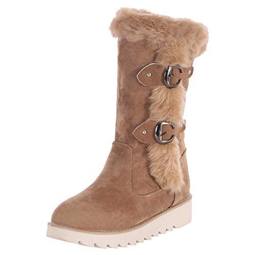 Logobeing Botas Mujer Invierno Cuero/Botas de Mujer Zapatos Mujer Cordones Botas Casual Zapatillas Botines Mujer Tacon Calientes Altas Boots Plataforma-126CH (42,Marrón)