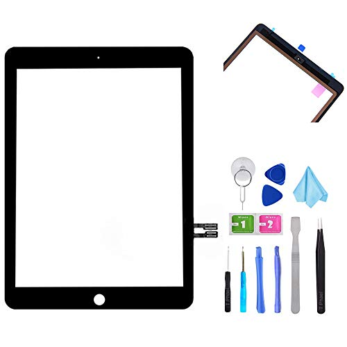 """Price comparison product image T Phael Black Digitizer Repair Kit for iPad 9.7"""" 2018 iPad 6 6th Gen A1893 A1954 Touch Screen Digitizer Replacement (Without Home Button) +Pre-Installed Adhesive + Tools"""