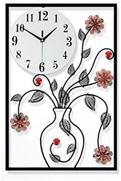 TYZXR 3D DIY Wanduhr Non-Ticking Silent Quiet Große Uhr, Metall Kristall Blumenvase Wanduhr (Farbe: # 1)