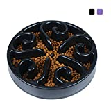 GRULLIN Slow Feeder Interactive Maze Dog Bowl Prevent Choking Indigestion Non-Toxic Eco-Friendly Puzzle Dish Spiral Design Non-Skid Base pet Bowl for Dogs (Black)