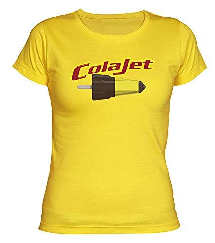 Camisetas EGB Camiseta Chica ColaJet ochenteras 80´s Retro (L, Amarillo)