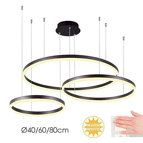 Kreativer 3 Ring Pendelleuchte Modern Einfaches Wohnzimmer Esszimmer Küchen Hängleuchte Heller Büro Kronleuchter Runde Metall Acryl Lampenschirm...