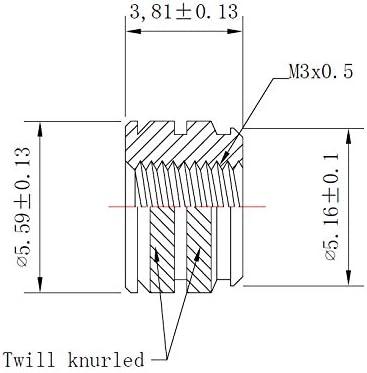 100, Short M3-0.5 Threaded Heat Set Inserts for 3D Printing initeq