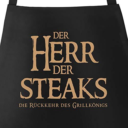 MoonWorks Grill-Schürze für Männer mit Spruch Der Herr der Steaks die Rückkehr des Grillkönigs schwarz Unisize