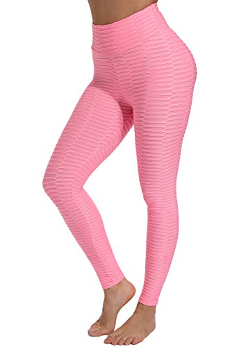 FITTOO Leggings de Sport Anti-Cellulite Femme Pantalon de Fitness Collant de Compression Taille Haute Slim Push Up Butt Lifter Pants Yoga pour Gym Jogging, Rose, XL