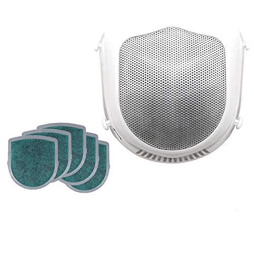Máscara eléctrica + 5 filtros de Repuesto, máscara de Polvo eléctrica Inteligente, válvula de respiración purificadora de Aire Fresco (Blanco)