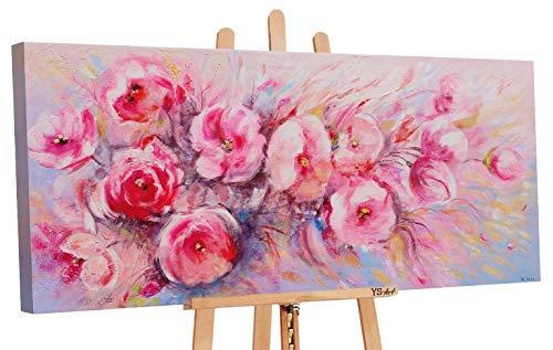 YS-Art | Dipinti a Mano Colori acrilici Fiori d'Estate | Quadro Dipinto a Mano | 115x50cm | Pittura | Dipinti Modern | Quadri Dipinti a Mano | Rosa