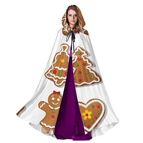 LONGYUU Galletas de Jengibre Galleta Dulce Capa Elegante Capa Capucha Capa 59 Pulgadas para Navidad Disfraces de Halloween Cosplay