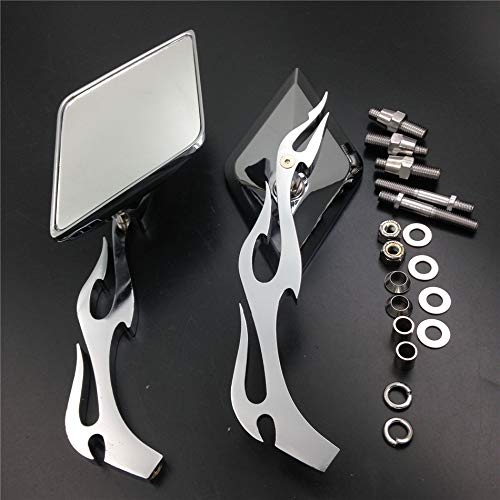 HTTMT MT336-CD Diamond Flame Stem Mirrors Compatible with Harley Davidson Or Metric Bike Chromed