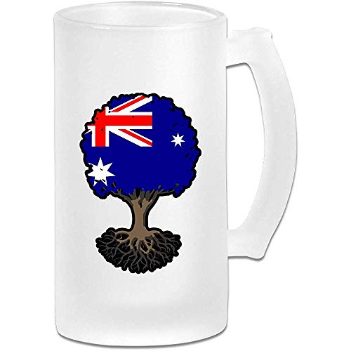 Levensboom met Australische vlag Frosted Glass Stein Bier Mok, Pub Mok, Drank Mok, Cadeau voor Bier Drinker, 500Ml (16.9Oz)