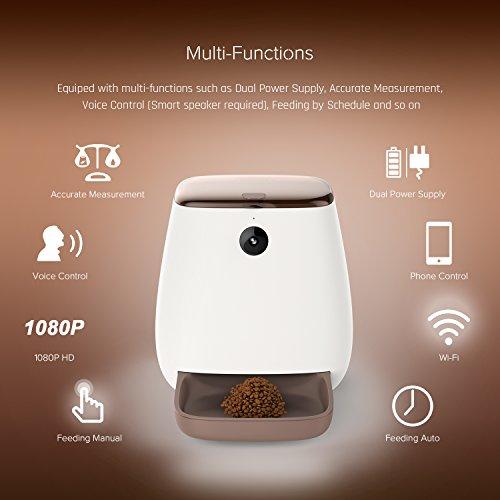 NOVIA Alimentador de Mascotas alimentador automático Comedero automático Remoto App con la cámara Media Gato pequeño Perro de Pantalla LCD Alarmas...