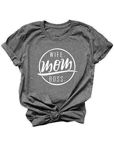 YUHX Wife Mom Boss T-Shirt Damen Oberteile lustige sprüche Print Mama Kurzarm Rundhals Tops Tee Geschenk, Dark Grey, XXL